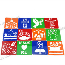 12Designs/set Bible story Stencils DIY Kids drawing templates Plastic painting boards Baby children hot educational toys 128mm(China)