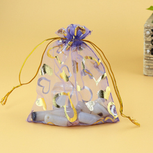 Christmas Bags Gift Bag Transparent Organza Sheer Packaging Bags 200pcs 11*16cm Gold Heart Design Storage Bags Custom Logo(China)