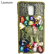 Laumans Exotic colorful handmade Rhinestone Elephant 3D Diamond Crystal Phone Cases For Samsung Galaxy Note 3 4 5 s5 s6 s7 edge(China)