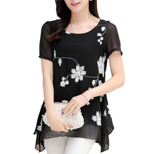 New Large Size Long Chiffon Flower Embroidery Women Tshirts Summer Short Sleeve Black White Large Ladies Tops B9J XS S M L