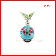 23ML Glass&Metal Antiqued Style Retro Bronze Hollow Flower Butterfly  Refillable Empty Perfume Container  Decoration Bottle