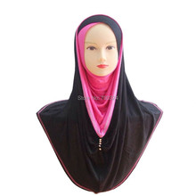 H748a latest jersey cotton muslim hoody hijab with rhinestones,fast delivery