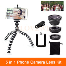 High Quality 5in1 Mobile Phone Lens Kit Wide Angle Macro Fish Eye Lenses For iPhone 6 6s 7 Plus 4 4s 5 5s With Clips Mini Tripod
