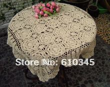 Free Shipping Hot selling 100% cotton hand knitting Crochet tablecloth 80x80cm Table cover table cloth TC007(China)