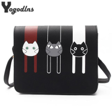 2017 Fashion Mini Bags for Women Cross Body Bags Ladies Handbag Shoulder Bags with Cute Cat PU Leather Female Messenger Tote Bag(China)