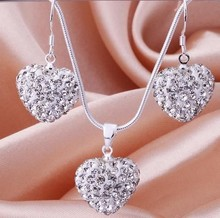New STYLE! Cheapest  Fashion white Crystal Heart Pedant Shamballa Necklace  earring set lot  Rhinestones Ball Bead JEWELLRY