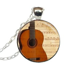 2017 New Trendy Vintage Acoustic Guitar Necklace Sheet Music Pendant Jewelry Art With Chain Glass Dome Photo Necklaces