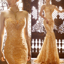 Custom Made Mermaid Sequins Tulle Crystal Sweetheart Gold Sexy Fashion Evening Dresses 2017 New Evening Gowns robe soiree RT02
