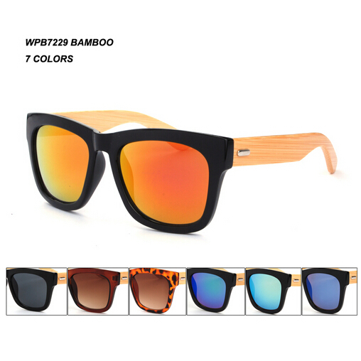 (60pcs/lot) Wholesale Bamboo Unisex sunglasses