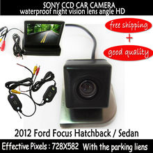 wireless Car RearView car mirror monitor with Car sony ccd Reverse backup rear view Camera for 2012 Ford Focus Hatchback / Sedan(China)