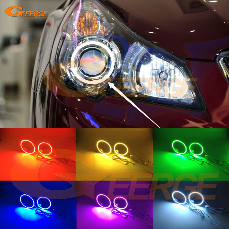 For Subaru Legacy Outback 2010 2011 2012 2013 2014 Excellent Multi-Color Ultra bright RGB LED Angel Eyes kit Halo Rings<br>