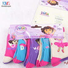 2016 New Dora girls socks 10 pairs/lot baby children 95% cotton brand socks kids adult cartoon top quality socks, HI108