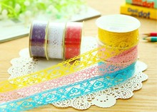1 PCS Hot Sell Kids Gift Stationery Lace Roll DIY Scrapbooking Paper Decorative Sticky Masking Tape Self Adhesive Random Colors(China)