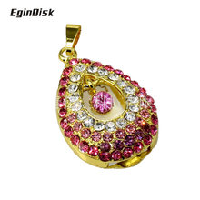 2018 New Creative Pendrive Necklace Pendant Usb Flash Drive 32gb Beautifully Gift Crystal Diamond Sweet Heart Memory Stick(China)