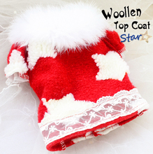 Free shipping high quality handmade fur collar woolen dog short coat jacket warm winter vest pet clothes