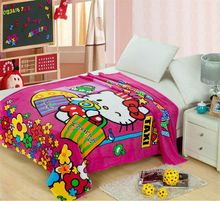 rosy Hello Kitty Shopping Blankets Throw Bedding 150*200CM Size Baby Kid Girls Children's Bed Home Bedroom Decoration Flannel