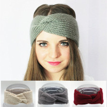 Crochet Turban Headband Winter Ear Warmer Knitted Wool Bow Wide Headbands for Women Head Wrap Headwear Girls Hair Accessories