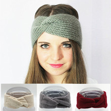 Crochet Turban Headband Winter Ear Warmer Knitted Wool Bow Wide Headbands for Women Head Wrap Headwear Girls Hair Accessories(China)