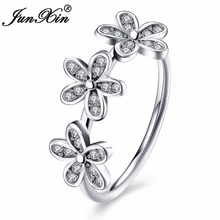 JUNXIN 925 Sterling Silver Flower Ring Simple Design Promise Engagement Rings For Women Fashion Love Jewelry Gifts(China)