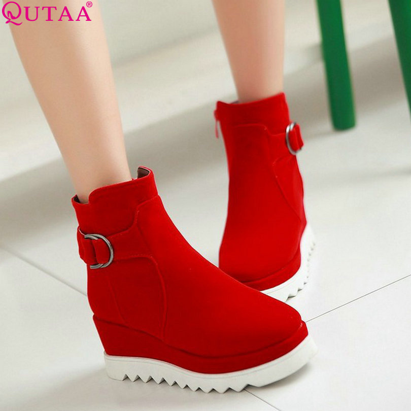 QUTAA Autumn&amp;winter Fashion PU Leather Women Casual Boots Women Boots Vintage Boots size 34-43<br><br>Aliexpress
