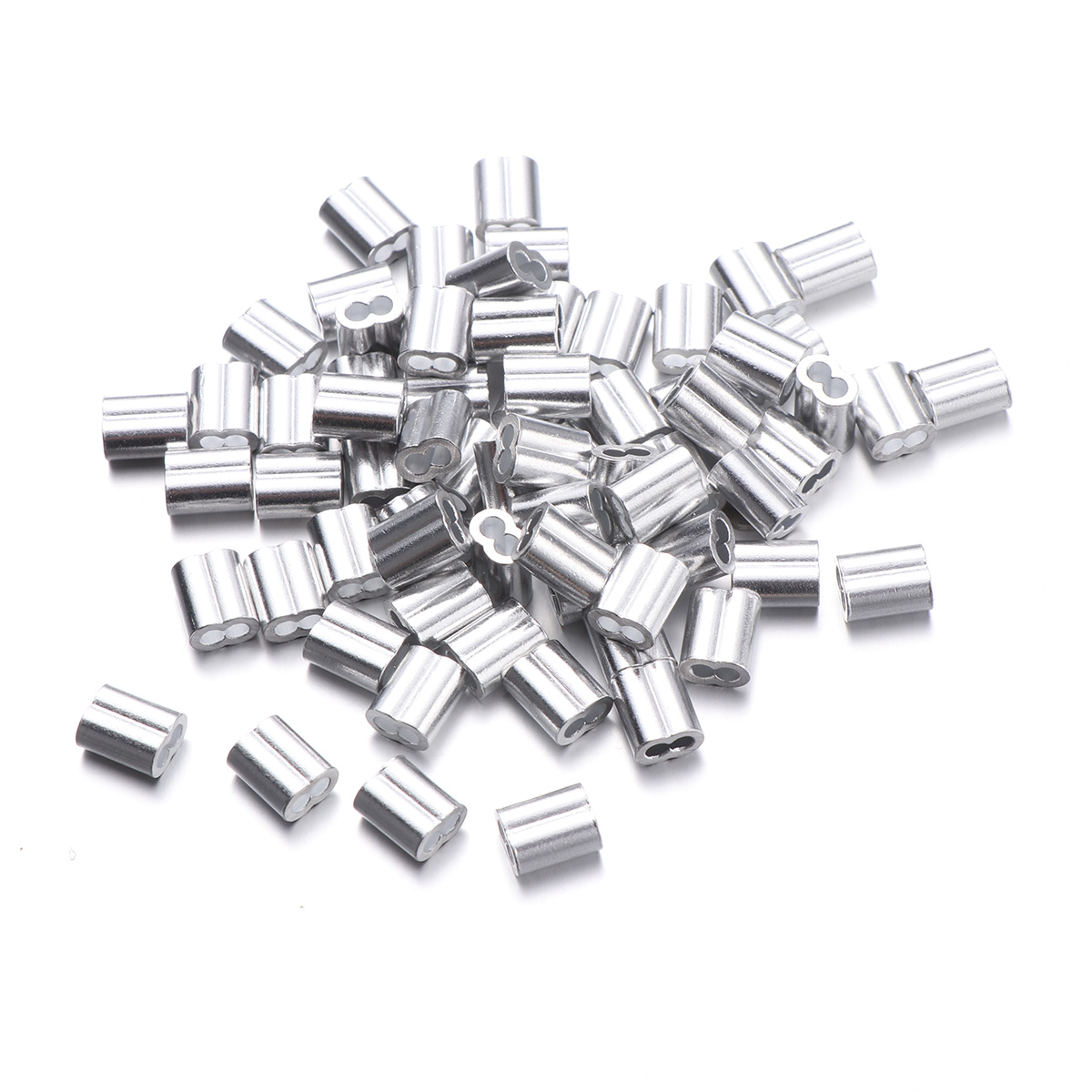 OUNONA 100pcs 2mm Aluminum Crimping Loop Sleeve for Wire Rope and Cable Sliver