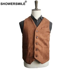 SHOWERSMILE Suede Vest Men Brown Navy Mens Suit Vest Autumn Winter Warm Waistcoat Vintage Brand 2019 Male Sleeveless Jacket(China)