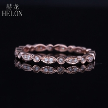HELON Antique Art Deco Natural Diamonds Solid 10K Rose Gold Full Eternity Band Engagement Wedding Ring Women's Jewelry Fine Ring