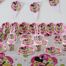 120pc Luxury Kids Favors Party Set Decorative Plates Cups Minnie Napkins Baby Shower Gift Bag Birthday Party Post Cards Supplies