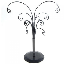Tree Sahped Jewelry Stand Earring Holder Organizer Display Rack (Black) Showing Display Shelves Stocked Ornamental
