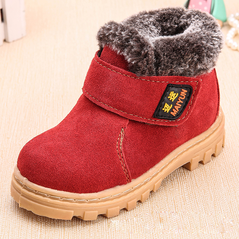 2016 New Fashion Kids Girls Winter Leather Shoes Snow Martin Boots ChildrenS Boys Shoes Waterproof Footwear With Fur Inside <br>