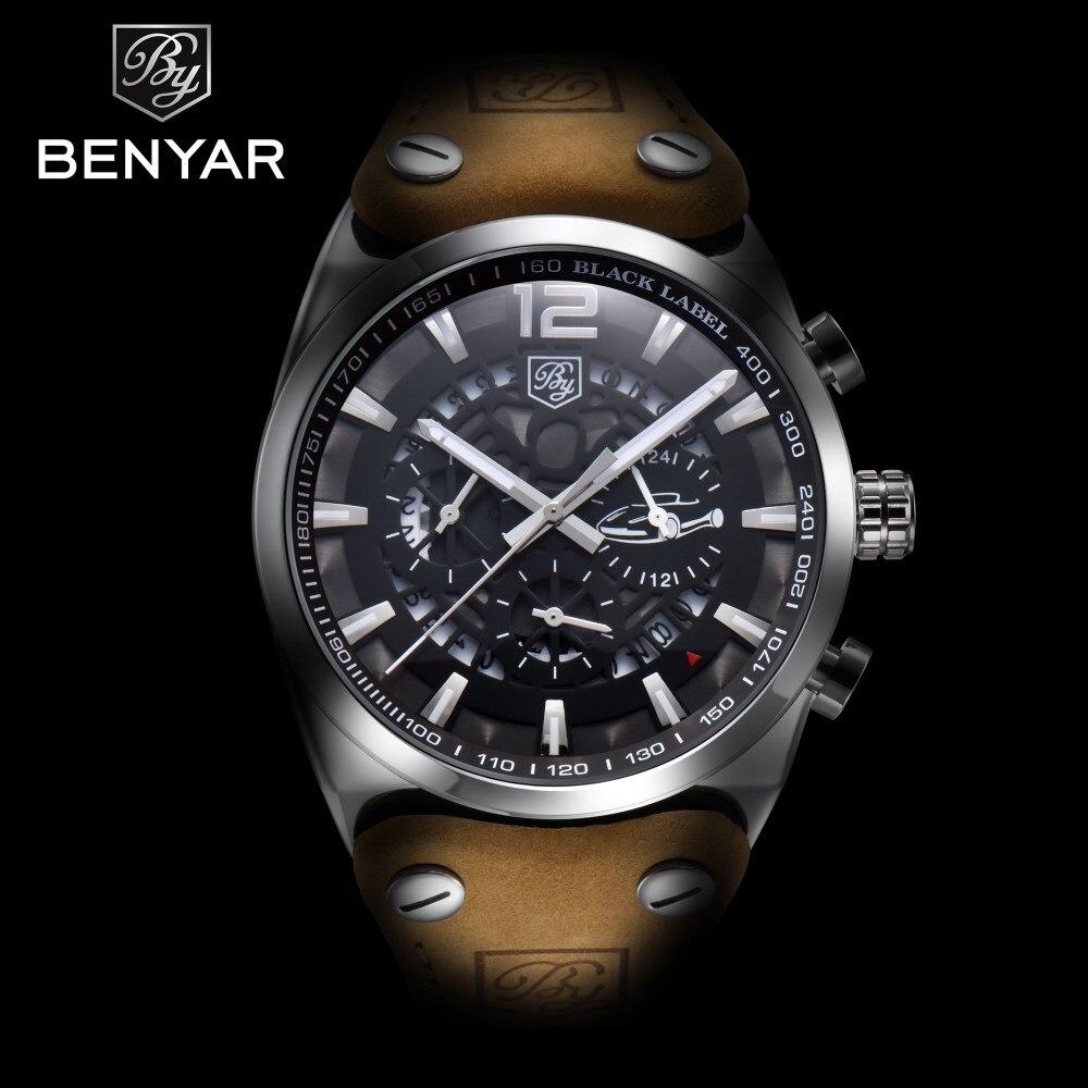 2018 New BENYAR Luxury Brand Mens Watches Chronograph Sport Fashion Military Waterproof Quartz Watch Clock Men Relogio Masculino<br>