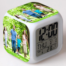 Custom Family Photo Alarm Clock LED Colorful Flash Touch Night Light Watch Toys for Children Birthday gift