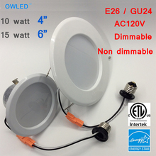 "10W 15W AC120V ES ETL 4"" 6"" Dimmable LED Rrtrofit Recessed Downlight with E26 GU24 tail Kit 2pcs/pack(China)"