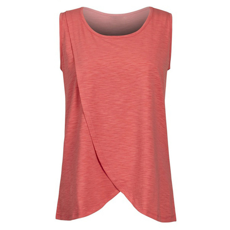 Maternity Clothes Pregnancy Clothes Summer Women Maternity Pregnants Sleeveless Double Layer T-Shirt Top Nursing Top JE10#F (6)