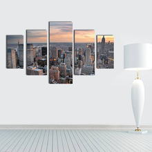 S/L Size 5 Panels City View Oil Painting Wall Art Pictures Oil Painting for Living Room Home Decoration(China)
