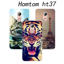 2017 New arrival  For Homtom ht37 Pro 4G Mobile Phone 5.0 inch Case Cover cat  Eiffel Tower Cute Animal Perfect Design Fashion