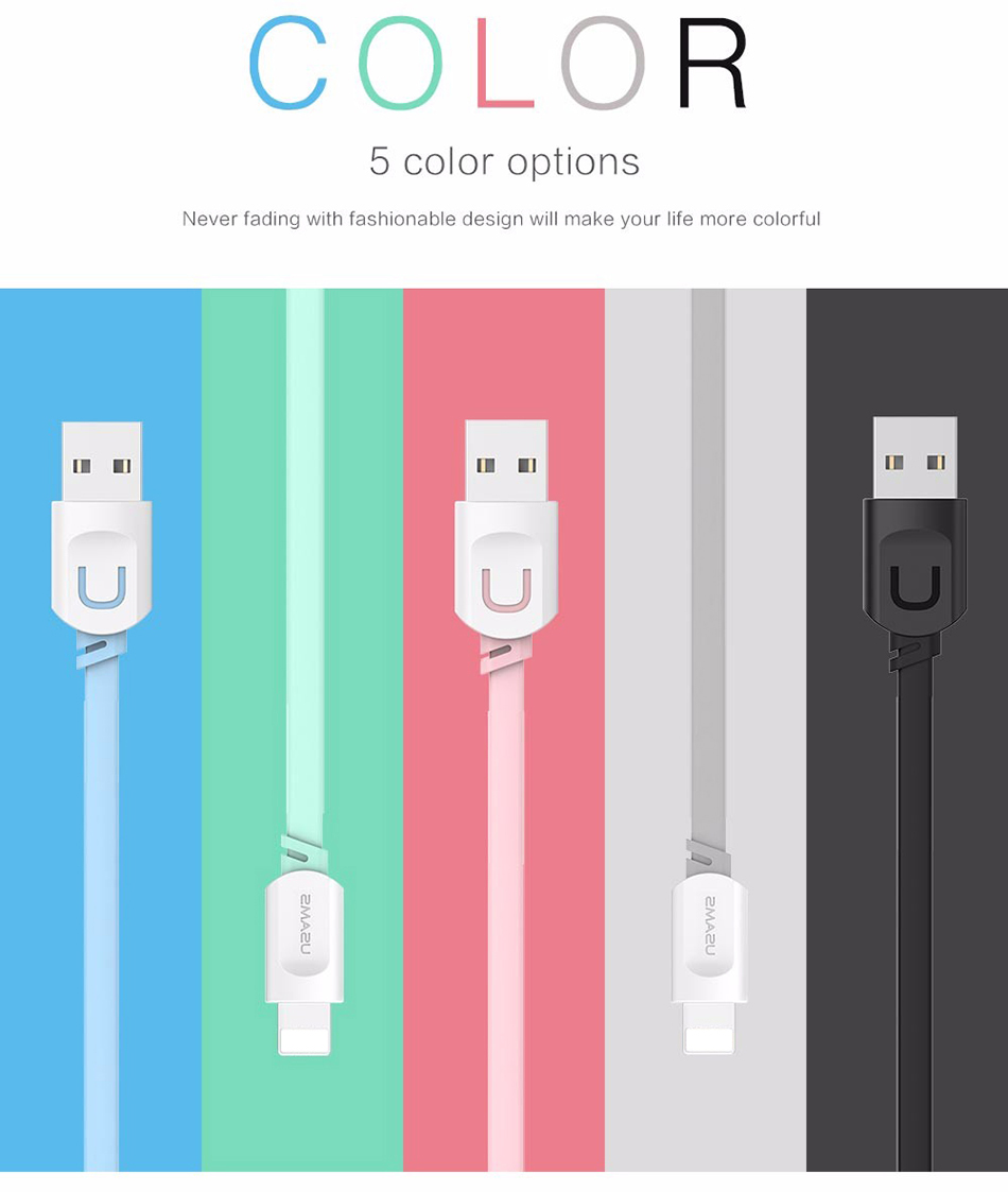 For IPhone Cable IOS 11 10 9 USAMS 2.1A Fast Charging 0.25m 1m 1.5m Flat Usb Charger Cable For iPhone 8 7 i6 iPhone 6 6s X Cable 15