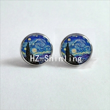 NES-001  Van Gogh Painting Stud Earrings The Starry Night Ear Studs Van Gogh Sunflowers Round Jewelry Glass Dome Earrings HZ4