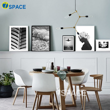 7-Space Modern Canvas Painting Black White Wall Art Natural Scenery Print Poster Wall Pictures For Kitchen Room Decor No Frame(China)
