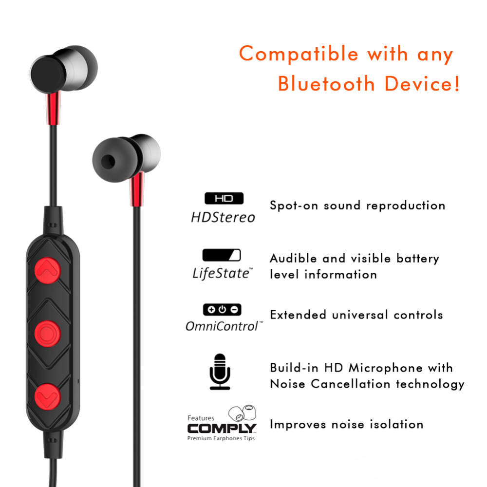 Hutmtech HT02 Bluetooth Earphone In ear Headsets Sports Running Music Wireless Earphones With Microphone for Sony Xiaomi MP3