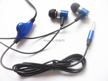 3.5mm Handsfree Earbuds with volume control, Blue Color , metal earpieces, Stereo MP3 Audio players , Singapore free shipping(China)