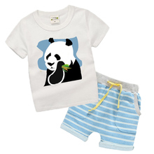 2 piece Kids Clothes Boys Fashion Summer Toddler Boys Clothing Sets for Children Striped Panda Pattern T-shirt and Shorts TL02