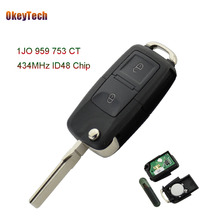 OkeyTech 434MHz ID48 Chip 2 Buttons Flip Folding Remote Control Key Fob Case For VW Volkswagen Bora Polo Golf MK4 1J0959753CT(China)