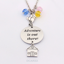 """Adventure is Out There""Hand Stamped Necklace Wanderlust Jewelry Hot air balloon,House,Crystals Charms Up Movie Jewelry"
