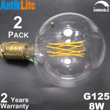 40 60 75 100 Watt Incandescent Equal G125/G40 E27/E26 Antique Edison Style Vintage Dimmable LED Long Filament Bulb 4/6/8/10/W