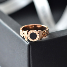 YUN RUO Rose Gold Color Black Roman Numerals Couple Ring For Woman Man Gift Party Stainless Steel Jewelry Top Quality Never Fade