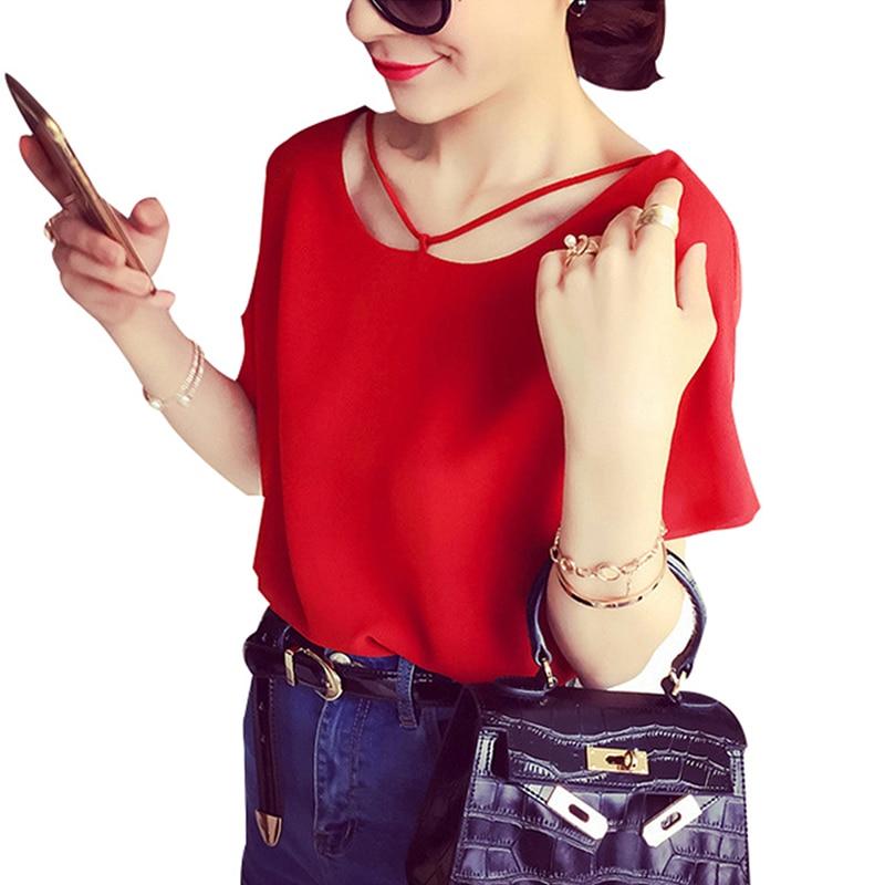 Women Summer Tops Femme Short Sleeve Chiffon Blous...