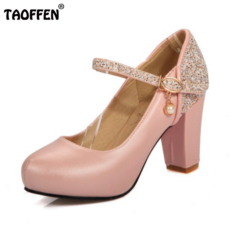 TAOFFEN Size 30-44 Sexy Women High Heel Shoes Women Shine Ankle Strap Thick Heels Pumps Party Club Office Shoes Women Footwears<br>