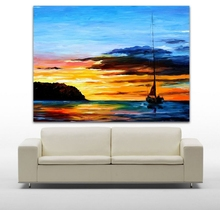 Resting Yacht in Dust Harbor 100% Hand Painted Color Palette Picture Sunset Seaview Wall Art for Office Home Decor(Hong Kong)