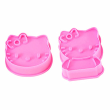 2Pcs/Set Hello Kitty Shape Cookie Mould Plastic Sugar Fondant Cake Mold Cookie Cutters COokie Tools